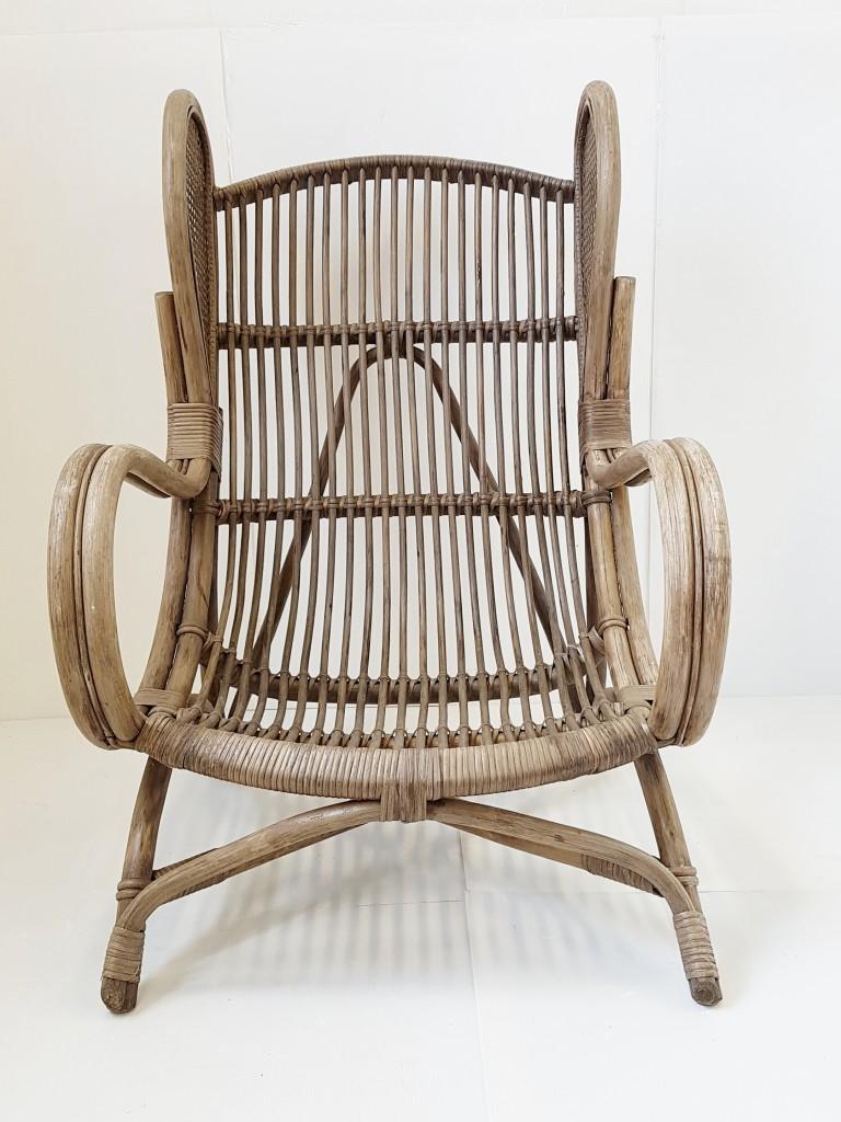 Chicplastic Mobilier Vintage De Designers Fauteuil Bambou Rotin - Fauteuil bambou