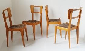 Suite de 4 chaises 1950 dlg Pierre Cruège