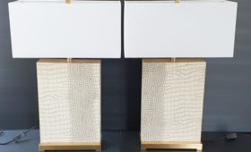 Paire de lampes imitation peau de serpent & laiton 1970